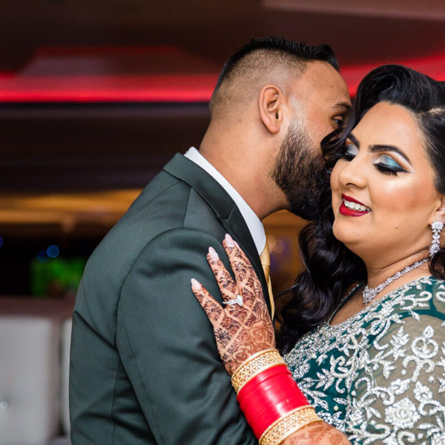 punjabi bride and groom night reception portraits