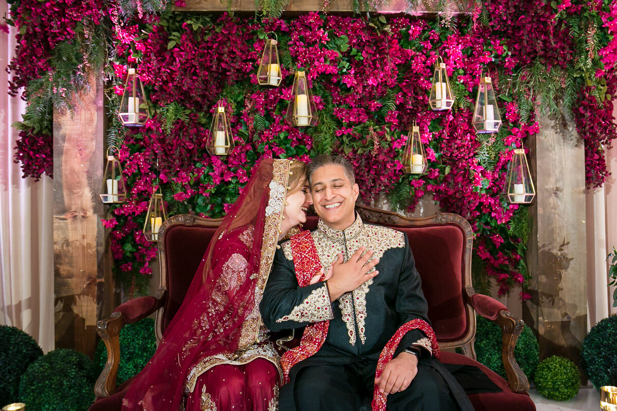 Indian bride and groom portrait at reception